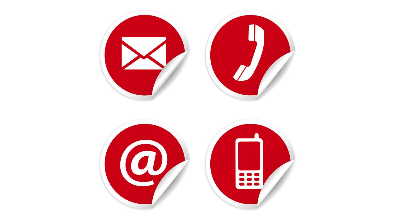 Web and Internet contact us icons set and design symbols on red circular stickers with curl. EPS10 vector illustration isolated on white background.